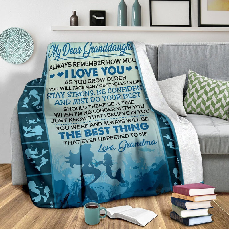 My Dear Granddaughter Mermaid Fleece Blanket interestprint