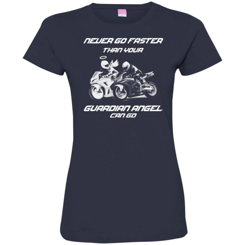 Never Go Faster Than Your Guardian Angel Can Go Memorial Motorbike T Shirts CustomCat