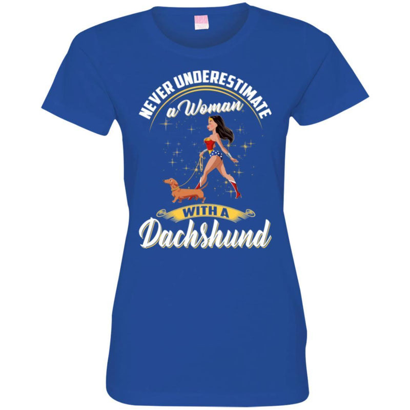 Never Underestimate A Woman With A Dachshund Funny Gift Lover Dog Tee Shirt CustomCat