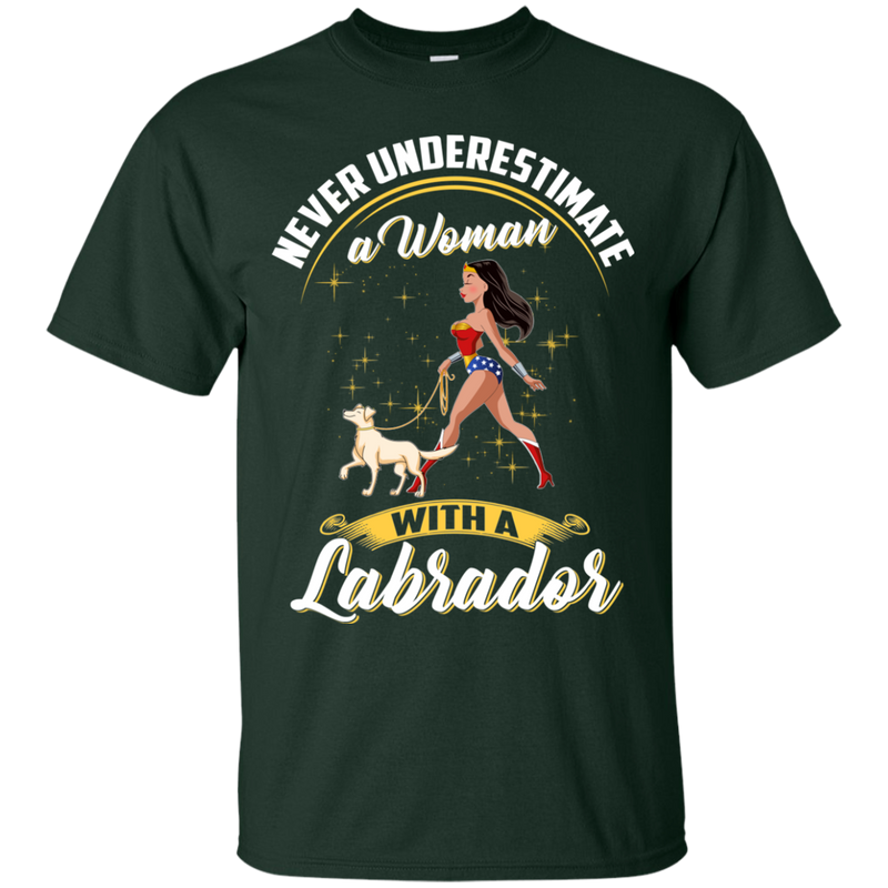 Never Underestimate A Woman With A Labrador Funny Wonder Woman T-shirts CustomCat