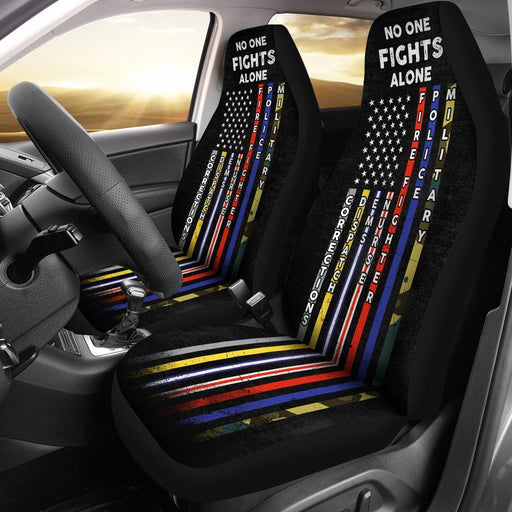 No One Fights Alone - Unique Design Of Car Seat Covers (Set Of 2) My Soul & Spirit