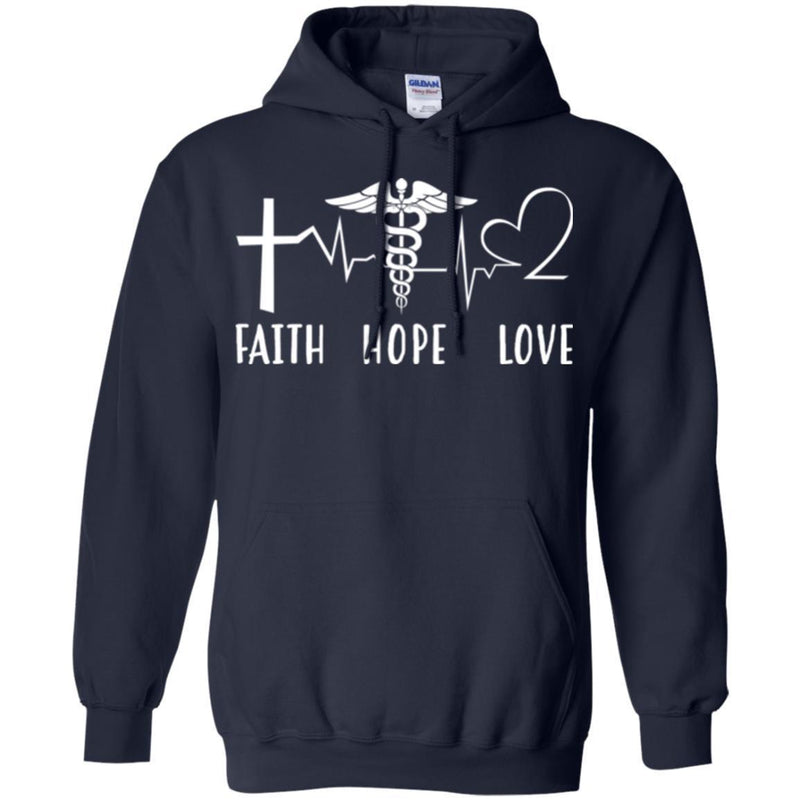 Nurse T-Shirt Faith Hope Love Heartbeat Funny Gift Tees Nurse Shirts CustomCat