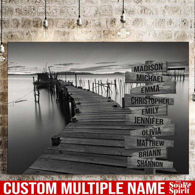 Ocean Dock Personalized Multi-Names Canvas Family - CANLA75 - CustomCat