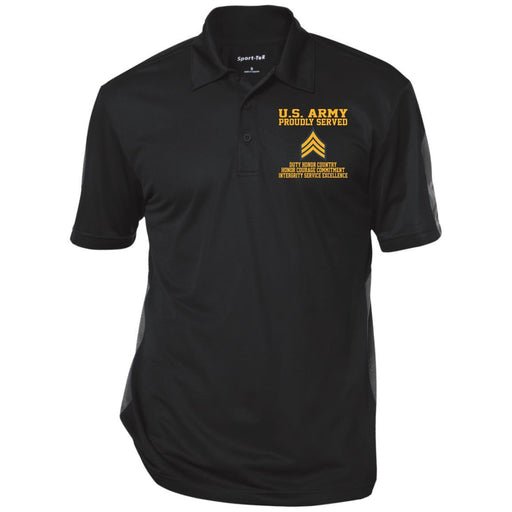 Proudly Served US Army E-5 Sergeant E5 SGT  Embroidered Three-Button Polo Shirt CustomCat