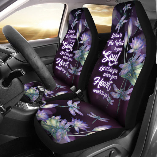 Pure Beauty Dragonfly With Lotus Car Seat Covers (Set Of 2) My Soul & Spirit