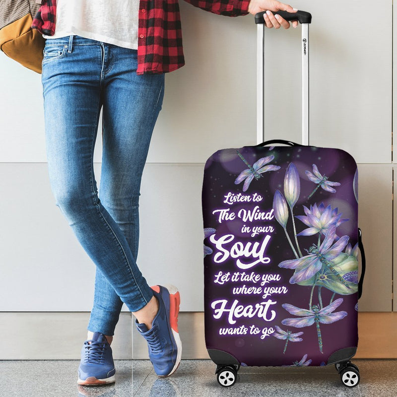 Pure Beauty Dragonfly With Lotus Luggage Cover interestprint