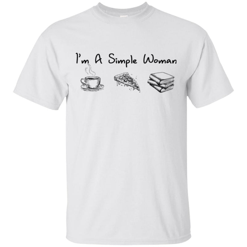 Reader Teacher T-Shirt I'm A Simple Woman Coffee Pizza Books Funny Gift Book Lovers Shirts CustomCat