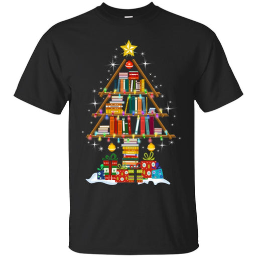 Reader Teacher T-Shirt Merry Christmas Tree Book Funny Gift Book Lovers Shirts CustomCat