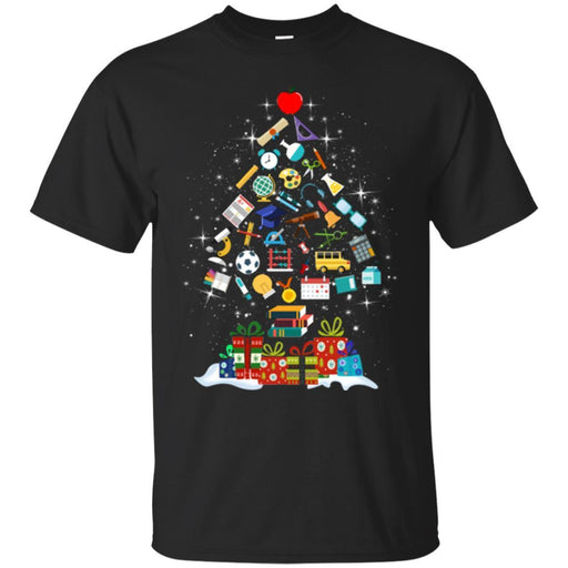 Science Teacher T-Shirt  Merry Christmas Tree Science Tools Funny Gift Book Lovers Shirts CustomCat