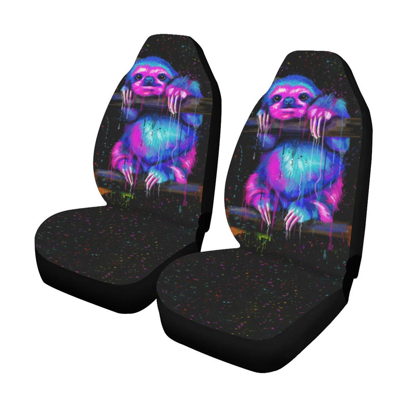 Sloth Neon Car Seat Covers (Set of 2) interestprint