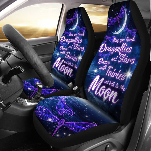 Sparkly Dragonflies - Stars - Fairies And The Moon Car Seat Covers (Set Of 2) My Soul & Spirit