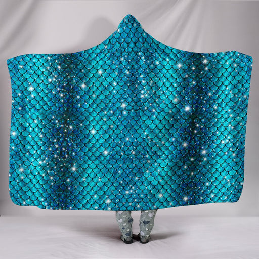 Sparkly Mermaid Scale Hooded Blanket My Soul & Spirit