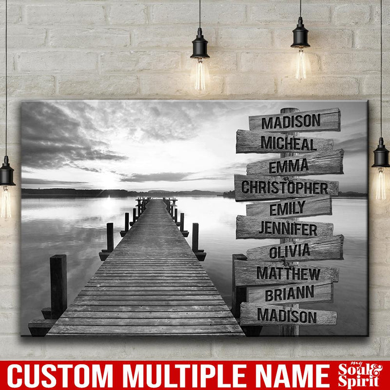 Sunset Lake Dock Multi Names Premium Canvas Crossroads Personalized Canvas Wall Art Black And White, Family Street Sign Family Name Art Canvas Family - CANLA75 - CustomCat