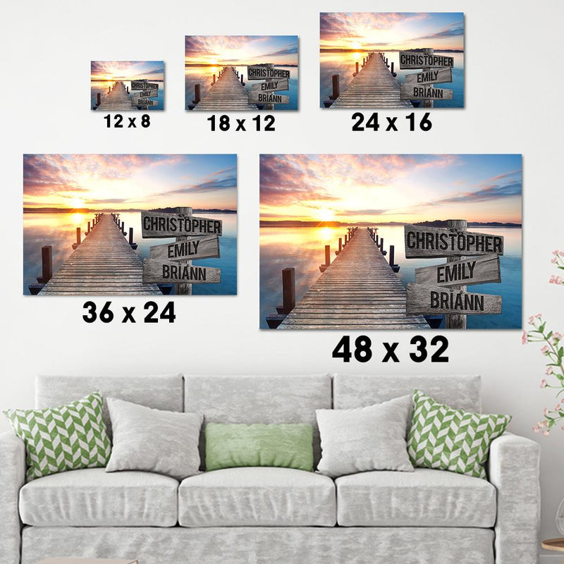 Sunset Lake Dock Multi Names Premium Canvas Crossroads Personalized Canvas Wall Art - Family Street Sign Family Name Art Canvas For Home Decor Custom Family - CANLA75 - CustomCat