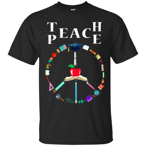Teacher T-Shirt Teache Peace Symbol Funny Gift Teacher Shirts CustomCat