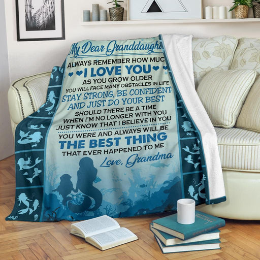 To Dear Granddaughter Love Grandma Mermaid Blanket My Soul and Spirit