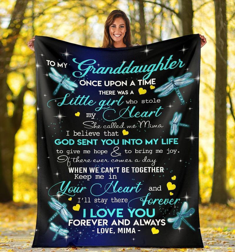 To My Granddaughter Dragonflies Mima Fleece Blanket interestprint
