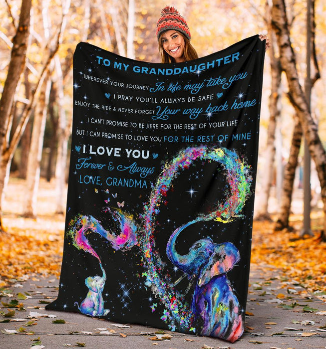 To My Granddaughter I Love You Grandma Elephant Blanket My Soul And Spirit