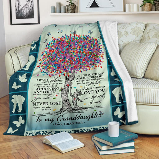 To My Granddaughter Love Grandma Butterfly Blanket My Soul and Spirit