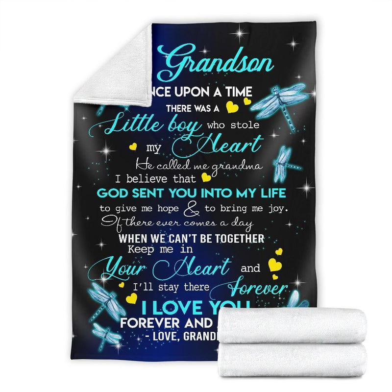To My Grandson Dragonflies Fleece Blanket interestprint