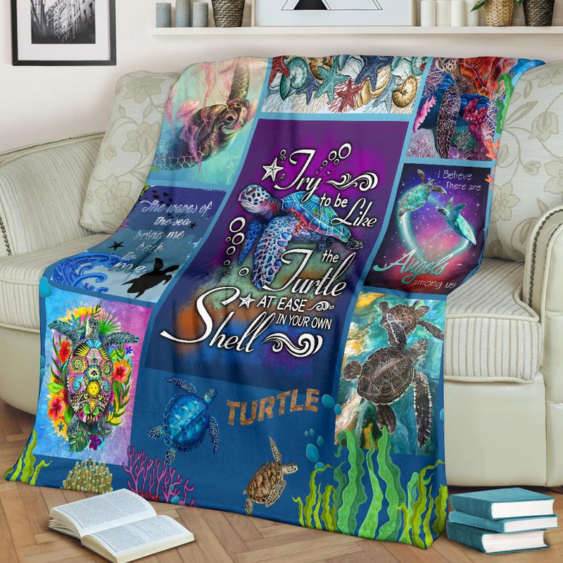 Try To Be Like The Turtle At Ease In Your Own Shell Turle Fleece Blanket interestprint