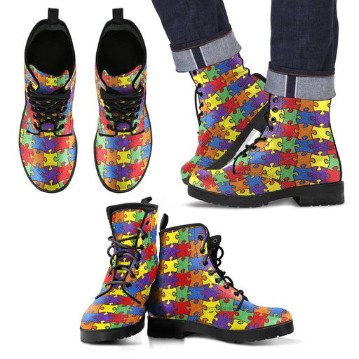Unique Design Of Autism Awareness Leather Boots My Soul & Spirit