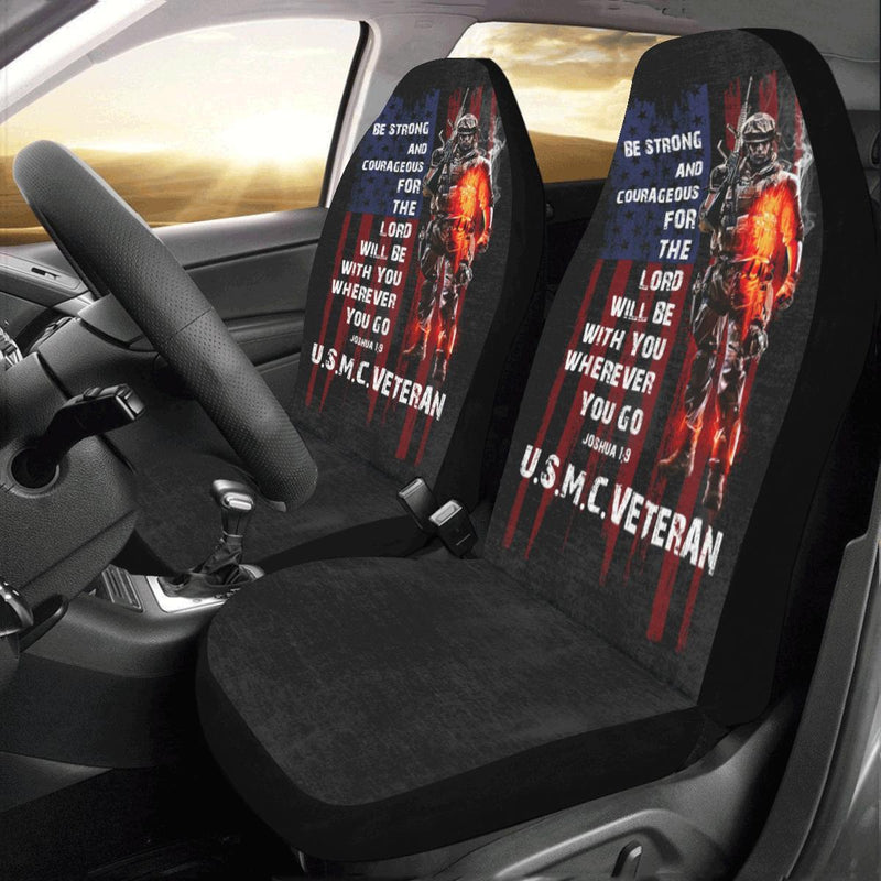 Be Strong And Courageous For The Lord USMC Veteran Car Seat Covers (Set of 2)