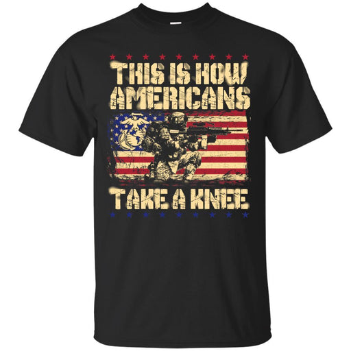 USMC Veteran T Shirt This Is How Americans Take A Knee United States Marine Corps Veteran Shirts CustomCat