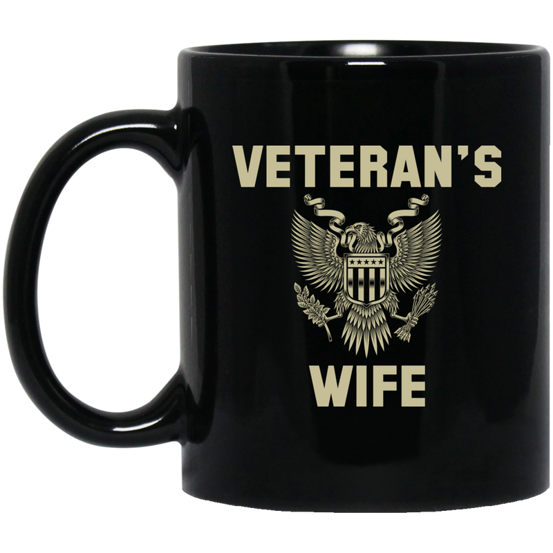 Veteran Coffee Mug Veteran's Wife 11oz - 15oz Black Mug CustomCat