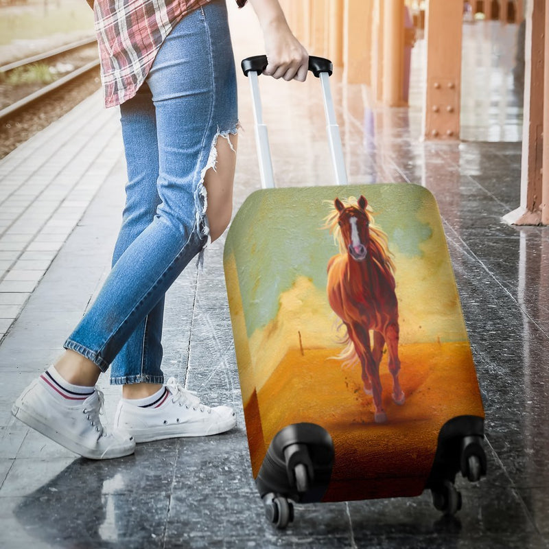 Vintage Horse Oil Painting Luggage Cover interestprint