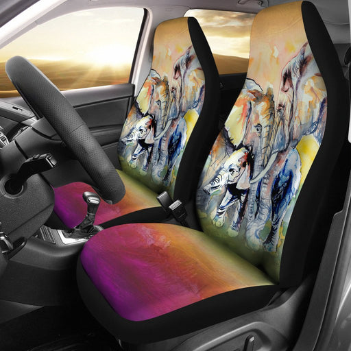 Water Color Elephant Family Love Car Seat Cover (Set Of 2) My Soul & Spirit