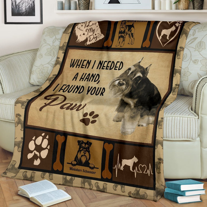 When I Needed A Hand I Found Your Paw Beautiful Miniature Schnauzer Fleece Blanket interestprint