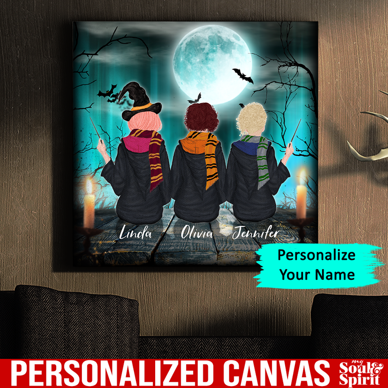 Witch Sisters Canvas Personalized Gift For Halloween