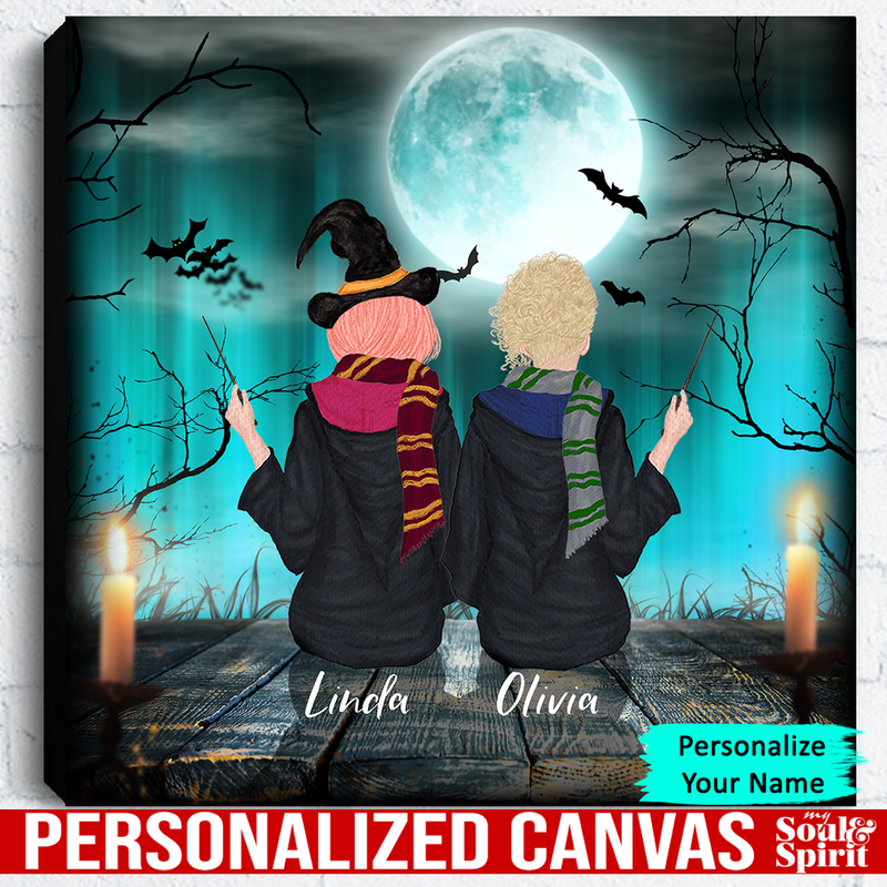 Witch Sisters Canvas Personalized Gift For Halloween Family - CANLA75 - CustomCat