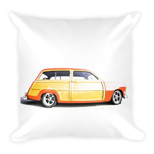 Ford Woody Wagon Hot Rod - Will Glover Featured Artist - Soft Pillow