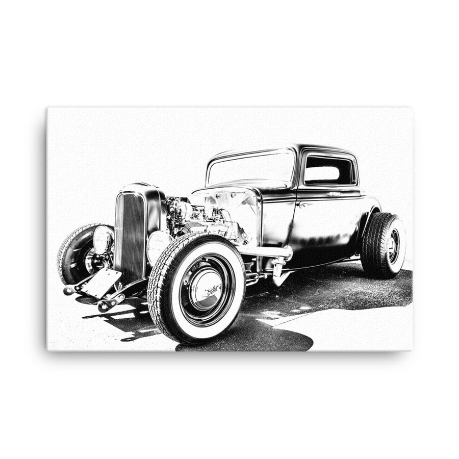 1932 Ford Deuce Coupe Three Window Hot Rod - Will Glover Featured Artist - Canvas Print