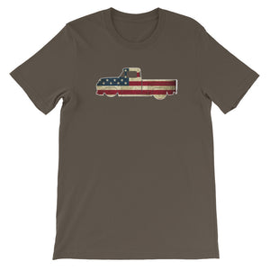 1956 Ford F100 Pickup Truck - American Flag Series - Men's T-Shirt