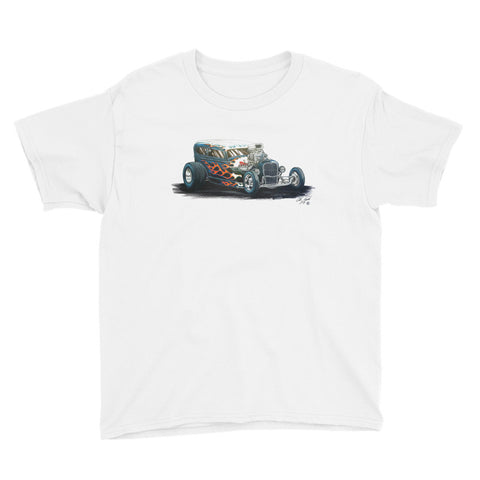 1932 Ford Flamed Hot Rod - Chris Morland Collection - Youth Short Sleeve T-Shirt