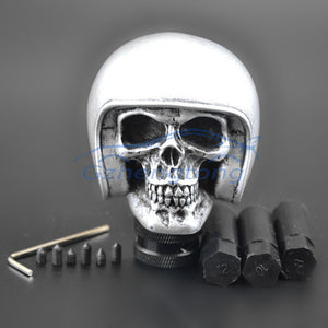 Silver Skull in Helmet Manual Shift Knob - Motorcycle Style