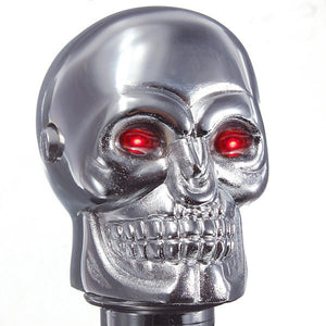 Universal Red LED Skull Head - Manual Gear Stick Shift Knob - Terminator Style