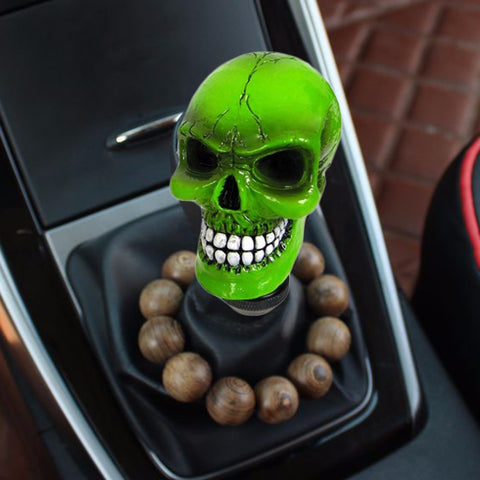 Green Resin Wicked Carved Skull - Universal Car Manual Gear Stick Shifter Knob Shift Lever