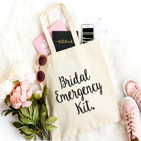 Bridal Emergency Kit Tote Bag- Bachelorette Party- Bridesmaid Gift Bag- Bridal Party Bag- Wedding Day- Wedding Shower- Maid of Honor