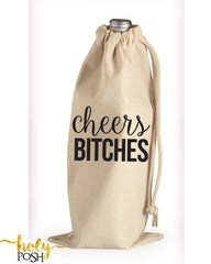 Cheers Bitches Wine Tote Bag- Bachelorette Party- Wine Bottle Bag- Champagne Tote Gift Bag- Bridal Emergency Tote Bag- Bridesmaid Gift Bag