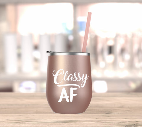 Classy AF Wine Tumbler. Bad and Boujee. Bachelorette Party. Bride Wine Cup. Rose Gold. Funny Wine Cup. Birthday Gift. Day Drink.