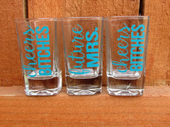 Cheers Bitches Shot Glass- Bachelorette Party Shot Glasses- Wedding Shot Glass- Bridesmaid Shot Glass- Gift- Bride Shot Glass- Bridal Party