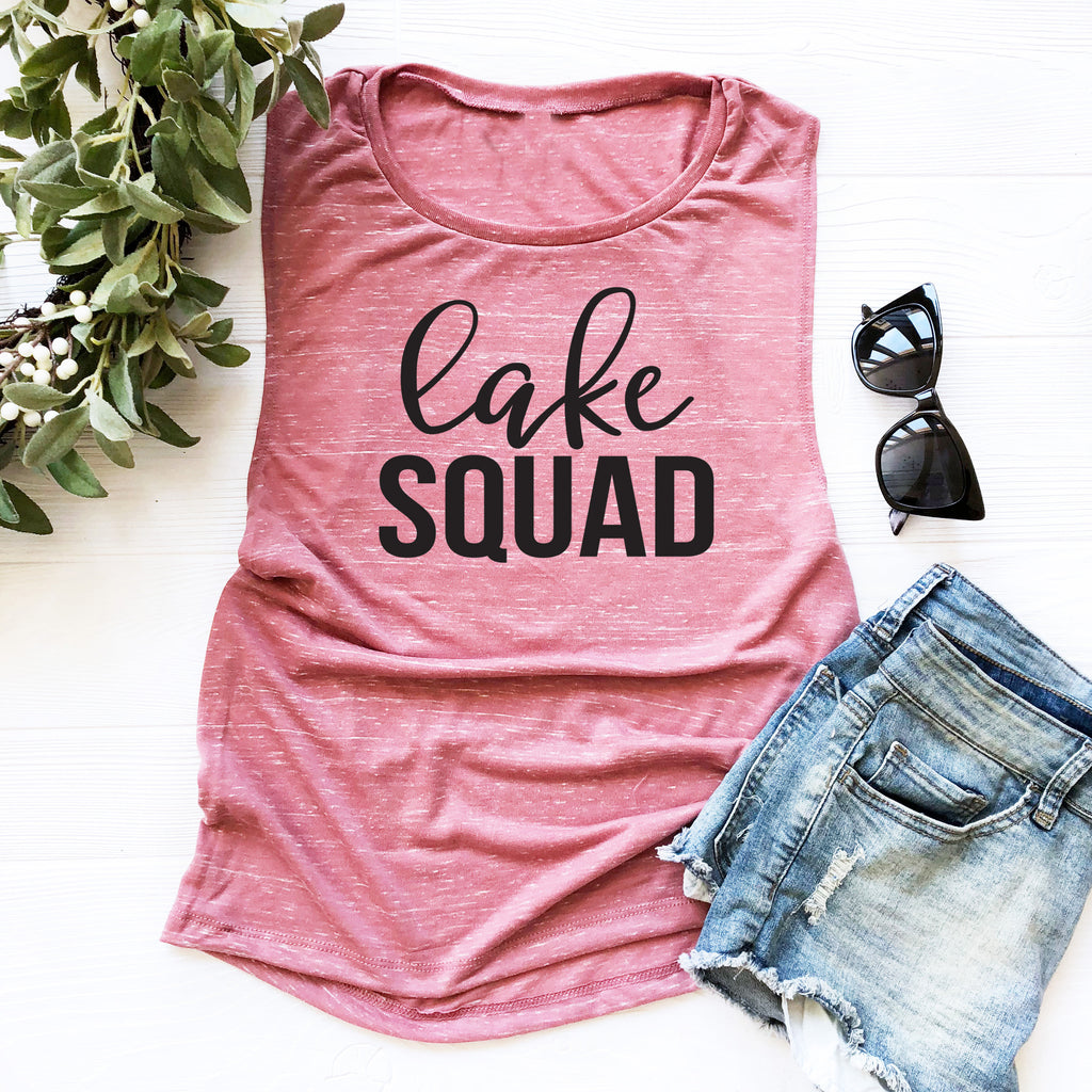 Lake Squad Muscle Tank. Summer Tank. Squad Goals. Beach Please. Girls Weekend. Lake Mode. Bachelorette Party. Adventure. Vacay.