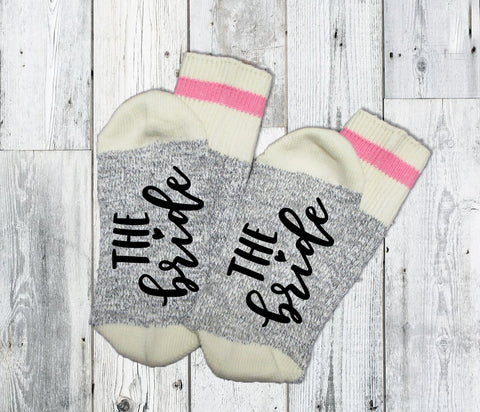 The Bride Socks. Bride To Be. Wife Socks. Wifey Socks. Bridesmaid. Wedding. Bridal Party Custom. Personalized. Bride Gift.