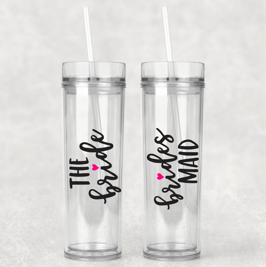 The Bride Bridesmaid Chic Skinny Tumblers. Bachelorette Party. Bride To Be. Gift for Bridal Party. Cute Wedding Gifts. Wife. Bridesmaids.