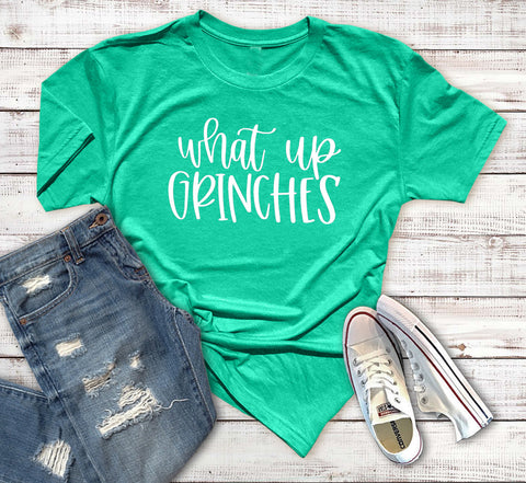 What Up Grinches Unisex Tee. Drink Up Grinches. Funny Christmas Shirt. Christmas Party. Happy Holidays. Resting Grinch Face. Grinch Please