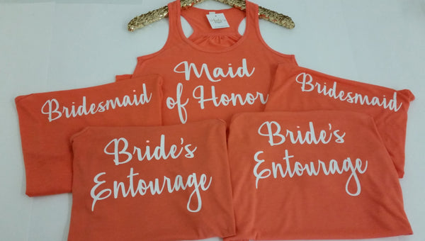 Bride's Entourage Flowy Tank Top- Bridesmaid Tank- Bacheloretty Party- Bridal Tank Top- Wedding Party Tank- Bride's Squad- Bridesmaids Shirt